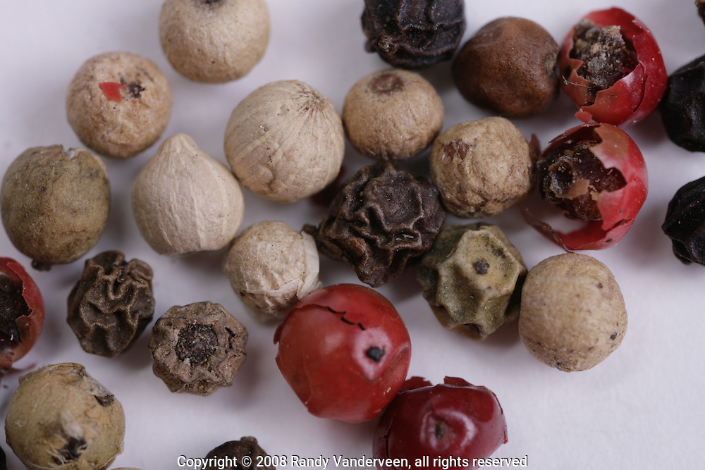 © 2008 Randy Vanderveen, all rights reserved.Grande Prairie, Alberta.Peppercorns come in a variety of shapes and colours.