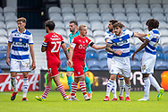 Queens Park Rangers forward Ryan Manning (14) reacts angrily after a harsh challenge during the EFL Sky Bet Championship match between Queens Park Rangers and Barnsley at the Kiyan Prince Foundation Stadium, London, England on 20 June 2020.