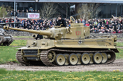 """The only working Tiger 1 tank in the world, Tiger 131, drives around the tank course at the Tank Museum in Bovington, Dorset, as the attraction hosts """"Tiger Day"""" to mark the 75th anniversary of the world's only working Tiger Tank's capture in 1943 in the Tunisian desert."""