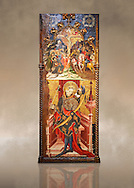 Gothic altarpiece depicting top, Calvary, bottom, St Sebastia (Sebastian) , by Joan Mates of Villafranca de Penedes, circa 1417-1425, from the refrectory of Pia Almoina, Barcelona, Temperal and gold leaf on wood.  National Museum of Catalan Art, Barcelona, Spain, inv no: MNAC  32340. Joan Mates was a Spanish painter of the International Gothic style. Against a art background. .<br /> <br /> If you prefer you can also buy from our ALAMY PHOTO LIBRARY  Collection visit : https://www.alamy.com/portfolio/paul-williams-funkystock/gothic-art-antiquities.html  Type -     MANAC    - into the LOWER SEARCH WITHIN GALLERY box. Refine search by adding background colour, place, museum etc<br /> <br /> Visit our MEDIEVAL GOTHIC ART PHOTO COLLECTIONS for more   photos  to download or buy as prints https://funkystock.photoshelter.com/gallery-collection/Medieval-Gothic-Art-Antiquities-Historic-Sites-Pictures-Images-of/C0000gZ8POl_DCqE