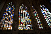 Interior stained glass windows of Lichfield Cathdral in Lichfield, England, United Kingdom. Lichfield Cathedral is situated in Lichfield, Staffordshire. It is the only medieval English cathedral with three spires. The Diocese of Lichfield covers all of Staffordshire, much of Shropshire and part of the Black Country and West Midlands.