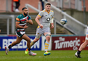 Leicester Tigers fly-half Zack Henry passes the ball during a Gallagher Premiership Round 10 Rugby Union match, Friday, Feb. 20, 2021, in Leicester, United Kingdom. (Steve Flynn/Image of Sport)