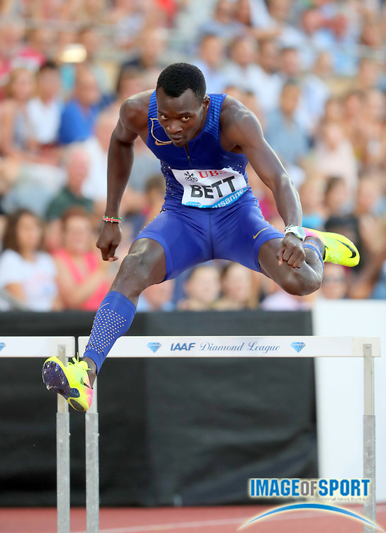 Aug 25, 2016; Lausanne, Switzerland; Nicholas Kiplagat Bett (KEN) places second in the 400m hurdles in 48.68 during the 2016 Athletissima in an IAAF Diamond League meeting at Stade Olympique de la Pontaise. Photo by Jiro Mochizuki