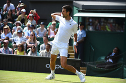 Novak Djokovic (SRB) during his first round match at the 2019 Wimbledon Championships at the AELTC in London, UK on July 1, 2019. Photo by Corinne Dubreuil/ABACAPRESS.COM