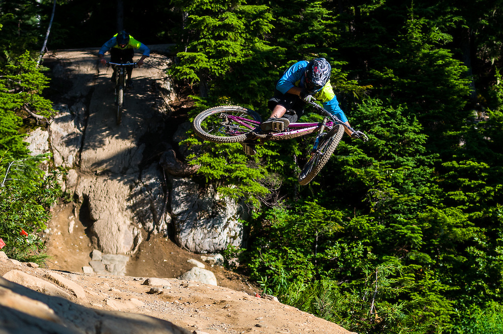 Eric Johnson (front) airs while Jared Vandergriend (back) rolls into Drop In Clinic on Whistler Mountain, BC. Shot for Transition Bikes.