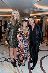 Left to right, MELISSA ODABASH, HILARY ALEXANDER and JULIEN MACDONALD at Fashion For The Brave at The Dorchester, Park Lane, London on 8th November 2013.