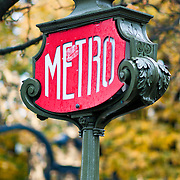 Old metro subway sign in Paris.