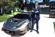 August 2014: Pebble Beach Concours. Lamborghini CEO Stephan Winkelmann and the new Lamborghini Huracan GT3 car
