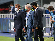 French President Emmanuel Macron, Co-president of AS Saint-Etienne Bernard Caiazzo, President of PSG Nasser Al Khelaifi during the teams' presentation before the French Cup final football match between Paris Saint-Germain (PSG) and AS Saint-Etienne (ASSE) on Friday 24, 2020 at the Stade de France in Saint-Denis, near Paris, France - Photo Juan Soliz / ProSportsImages / DPPI