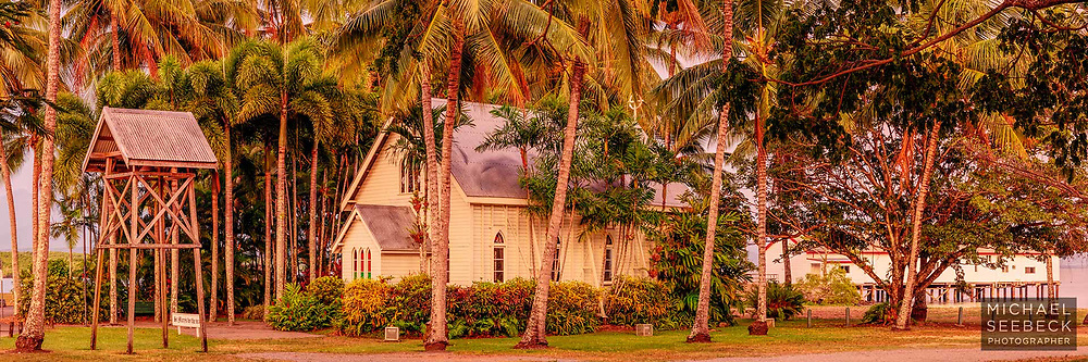 A panoramic photograph of St Mary's Chapel and Sugar Wharf, Port Douglas, taken in early morning dawn light.<br /> <br /> Code: HAQT0108<br /> <br /> Limited Edition of 125