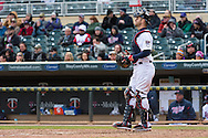Joe Mauer #7 of the Minnesota Twins looks on against the Miami Marlins in Game 1 of a split doubleheader on April 23, 2013 at Target Field in Minneapolis, Minnesota.  The Twins defeated the Marlins 4 to 3.  Photo: Ben Krause