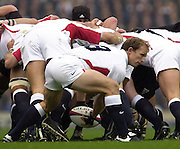 Richmond/Twickenham, England, Autumn International, and All Blacks Trianing at Old Deer Park. <br /> 09/11/2002<br /> International Rugby England vs New Zealand<br /> Matt Dawson, clearing the ball from behind the scrum.       [Mandatory Credit:Peter SPURRIER/Intersport Images]
