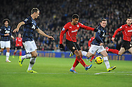 Fraizer Campbell has a shot on goal for Cardiff City.<br /> Barclays Premier League match, Cardiff city v Manchester Utd at the Cardiff city stadium in Cardiff, South Wales on Sunday 24th Nov 2013. pic by Phil Rees, Andrew Orchard sports photography,
