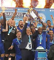 Football - 2015 / 2016 Premier League - Leicester City vs. Everton<br /> <br /> Leicester Manager Claudio Ranieri and Captain Wes Morgan lift the trophy at the King Power Stadium.<br /> <br /> COLORSPORT/ANDREW COWIE