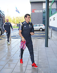 NEWPORT, WALES - Tuesday, October 7, 2014: Wales' Gareth Bale arrives for training at Dragon Park National Football Development Centre ahead of the UEFA Euro 2016 qualifying match against Bosnia and Herzegovina. (Pic by David Rawcliffe/Propaganda)