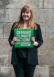 Hunter Square, Edinburgh, Scotland, United Kingdom, 28 November 2019. General Election: The Scottish Greens demand action about climate change as part of their general election campaign. Pictured: Gillian Mackay, Scottish Green Party candidate for Linlithgow & East Falkirk.<br /> Sally Anderson | EdinburghElitemedia.co.uk