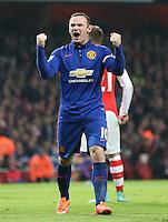 Manchester United's Wayne Rooney celebrates  Arsenal's Kieran Gibbs scores a own goal<br /> <br /> Photographer Kieran Galvin/CameraSport<br /> <br /> Football - Barclays Premiership - Arsenal v Manchester United - Saturday 22nd November 2014 - The Emirates Stadium - London<br /> <br /> © CameraSport - 43 Linden Ave. Countesthorpe. Leicester. England. LE8 5PG - Tel: +44 (0) 116 277 4147 - admin@camerasport.com - www.camerasport.com