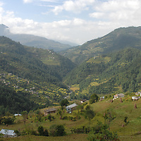 A view of a valley looking down at the village of Jiri in Nepal.