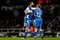 Photo: Alan Crowhurst.<br />West Ham United v Wigan Athletic. The Barclays Premiership. 06/12/2006. Leighton Baines (L) celebrates  scoring Wigan's second.