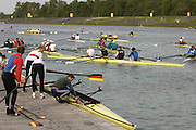 Munich, GERMANY, 2006, Crews leaving the water after the morning training times, at the FISA, Rowing, World Cup, held on the Olympic Regatta Course, Munich, Thurs. 25.05.2006. © Peter Spurrier/Intersport-images.com,  / Mobile +44 [0] 7973 819 551 / email images@intersport-images.com.[Mandatory Credit, Peter Spurier/ Intersport Images] Rowing Course, Olympic Regatta Rowing Course, Munich, GERMANY
