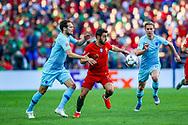 Portugal midfielder Bernardo Silva (10) goes past Netherlands Defender Daley Blind  (Ajax) during the UEFA Nations League match between Portugal and Netherlands at Estadio do Dragao, Porto, Portugal on 9 June 2019.