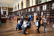 The British Museum, London. The long, book lined, Enlightenment room. A giant study / library.
