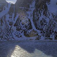 BAFFIN ISLAND, Nunavut, Canada. Frozen lake & Stewart Valley from base of Great Sail Peak.