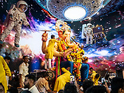 Visitors come to see the Lalbaugcha Raja Ganapati in Mumbai during the annual 10-day festival celebrtaing the Elephant God. Idols such as this one will be immersed into the sea on the tenth day of the festival. Around 150,000 idols are set up around the city in community centers and people's homes for worship. Throughout the festival nearly a million people a day will visit arguably the most popular pandal, the Lalbaughcha Raja in the heart of the city. They will offer Ganesha his favorite modak sweets, a type of sweet rice dumpling, and donations in the form of cash, gold and silver.© Matthew Busch, 2019