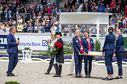 WERTH Isabell (GER), KEMPERMANN Frank, LEYEN Ursula von der, WINTER-SCHULZE Madeleine<br /> Aachen - CHIO 2019<br /> Geburtstagsüberraschung zum 50. für Isabell Werth<br /> Deutsche Bank Preis<br /> Großer Dressurpreis von Aachen<br /> Grand Prix Kür CDIO5* <br /> 21. Juli 2019<br /> © www.sportfotos-lafrentz.de/Stefan Lafrentz