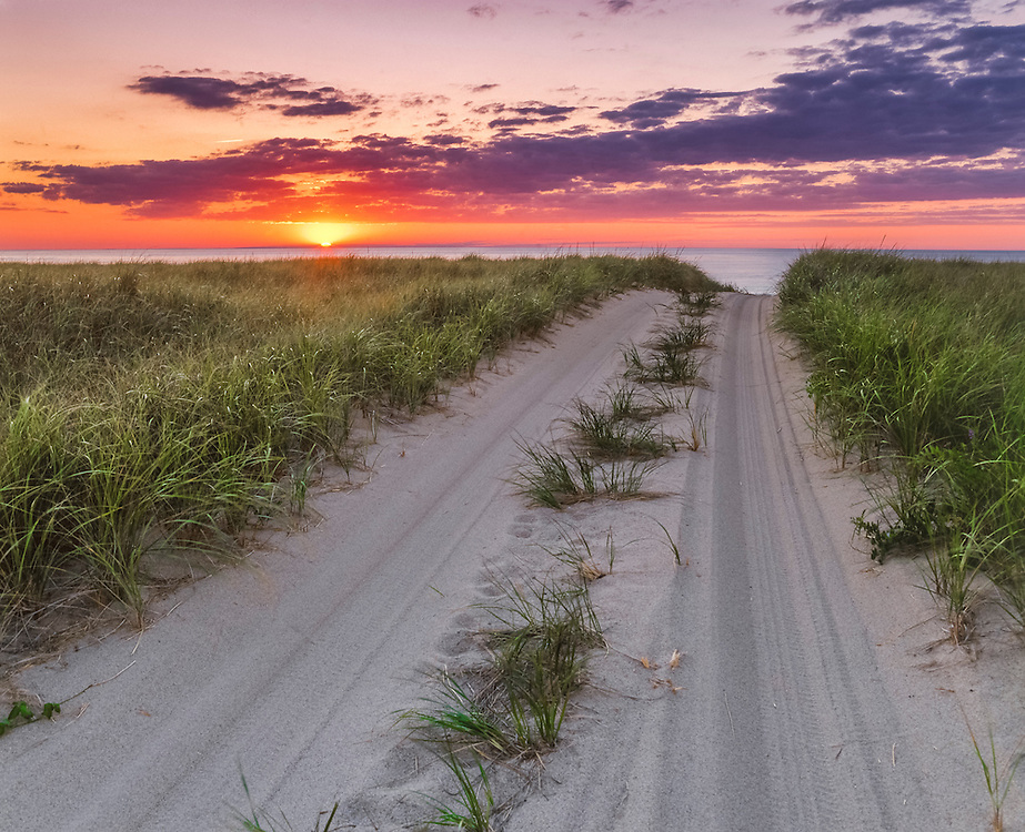 Sunset and sand road through grasses, Cape Cod National Seashore, Provincetown, MA
