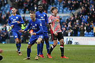 Anthony Pilkington of Cardiff city (13) celebrates with his teammates after he scores his teams 4th goal. EFL Skybet championship match, Cardiff city v Sunderland at the Cardiff city stadium in Cardiff, South Wales on Saturday 13th January 2018.<br /> pic by Andrew Orchard, Andrew Orchard sports photography.
