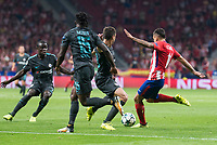 Atletico de Madrid's Angel Martin Correa and Chelsea's Cesar Azpilicueta, Victor Moses and N'Golo Kante during UEFA Champions League match between Atletico de Madrid and Chelsea at Wanda Metropolitano in Madrid, Spain September 27, 2017. (ALTERPHOTOS/Borja B.Hojas)