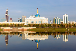 Presidential Palace and in background Baiterek Tower at IIHF World Championship DIV. I Group A Kazakhstan 2019, on May 4, 2019 in Barys Arena, Nur-Sultan, Kazakhstan. Photo by Matic Klansek Velej / Sportida