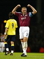 Photo: Chris Ratcliffe.<br />West Ham Utd v Aston Villa. The Barclays Premiership. 12/09/2005.<br />Thomas Repka celebrates victory