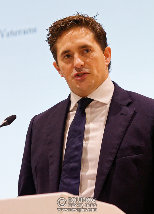 London, United Kingdom - 12 September 2019<br /> Johnny Mercer MP, Parliamentary Under-Secretary of State for Defence People and Veterans for the UK Government gives a keynote address speech and answers questions from the audience at DSEI 2019 security, defence and arms fair at ExCeL London exhibition centre.<br /> (photo by: EQUINOXFEATURES.COM)<br /> Picture Data:<br /> Photographer: Equinox Features<br /> Copyright: ©2019 Equinox Licensing Ltd. +443700 780000<br /> Contact: Equinox Features<br /> Date Taken: 20190912<br /> Time Taken: 10063000<br /> www.newspics.com