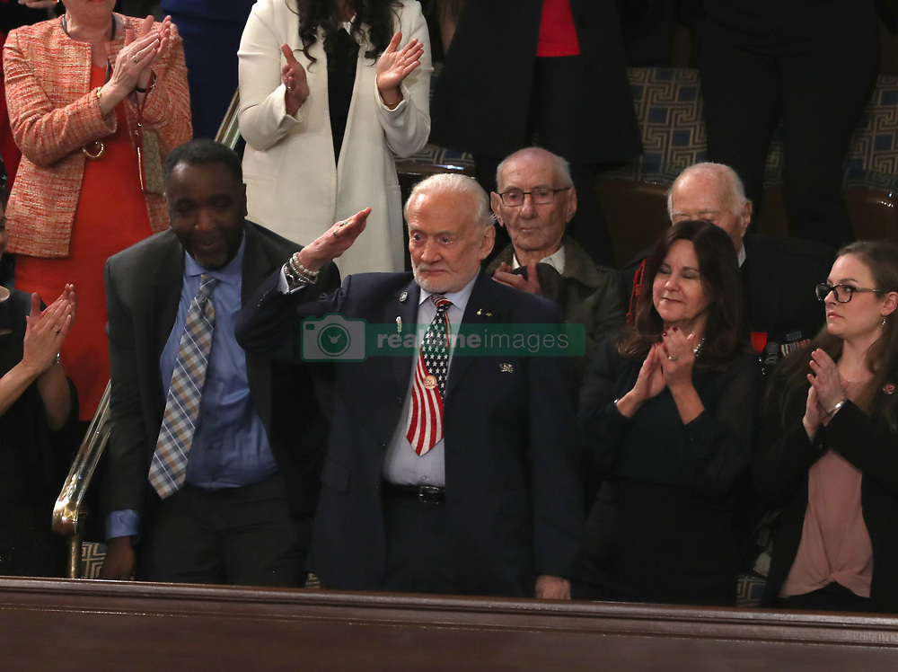 Former astronaut Buzz Aldrin salutes after being recognized as United States President Donald J. Trump delivers his second annual State of the Union Address to a joint session of the US Congress in the US Capitol in Washington, DC, USA on Tuesday, February 5, 2019. Photo by Alex Edelman/CNP/ABACAPRESS.COM