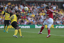 Nottingham Forest's Andy Reid's shot comes off Watford's LLoyd Doyley  - Photo mandatory by-line: Nigel Pitts-Drake/JMP - Tel: Mobile: 07966 386802 25/08/2013 - SPORT - FOOTBALL -Vicarage Road Stadium - Watford -  Watford v Nottingham Forest - Sky Bet Championship