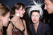 Margo Stilley and Isabella Blow. Zac Posen Spring/ Summer collection launch party. The Blue Bar, Berkeley Hotel. London. 7 March 2004. Dafydd Jones,  ONE TIME USE ONLY - DO NOT ARCHIVE  © Copyright Photograph by Dafydd Jones 66 Stockwell Park Rd. London SW9 0DA Tel 020 7733 0108 www.dafjones.com