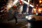 © 2010 Steven St. John Photography..Toros or Toritos running of the bulls in the Zócalo in Taxco Mexco with fireworks.