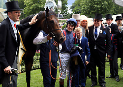The Tin Man and jockey Tom Queally celebrate after winning the Diamond Jubilee Stakes during day five of Royal Ascot at Ascot Racecourse.