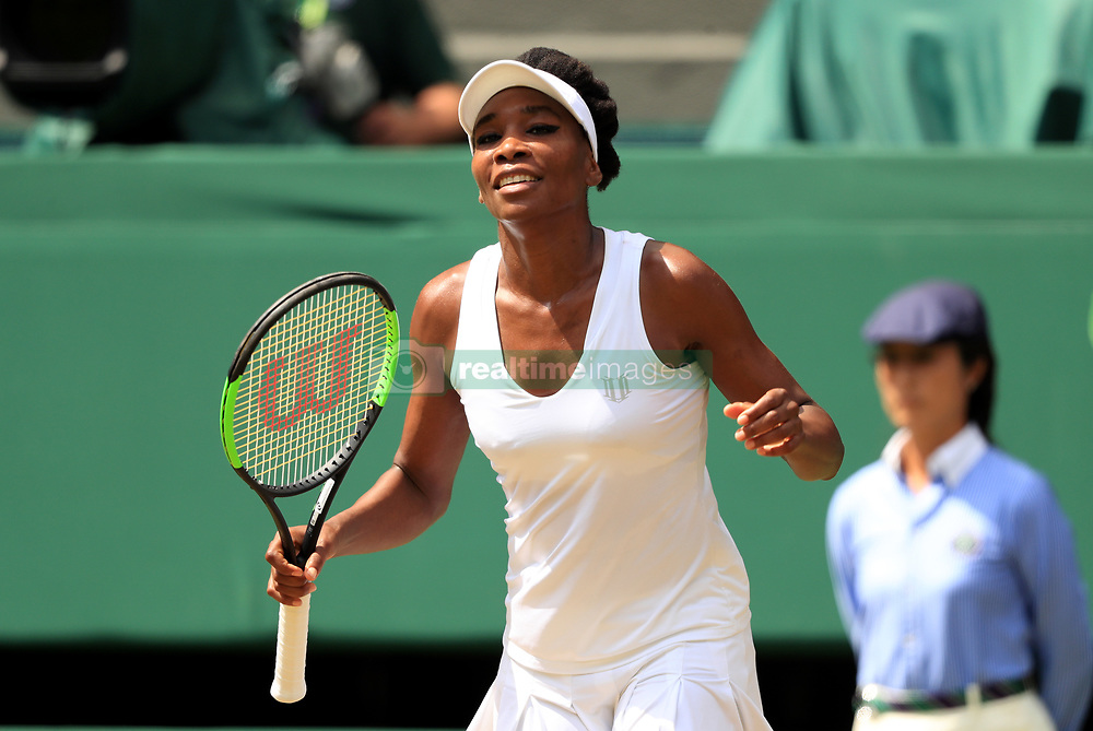 Venus Williams celebrates beating Ana Konjuh on day seven of the Wimbledon Championships at The All England Lawn Tennis and Croquet Club, Wimbledon.