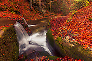 Waterfall in a forest at autumn time