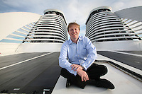 The launch of Royal Caribbean International's Oasis of the Seas, the worlds largest cruise ship..Jamie Sweeting, Vice President Environmental Stewardship & Global Chief environmental officer, RCCL. Photo shows solar panels & the funnels in the background.