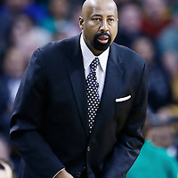 24 January 2013: New York Knicks head coach Mike Woodson is seen during the New York Knicks 89-86 victory over the  at the TD Garden, Boston, Massachusetts, USA.