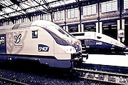 Trains inside Gare de Lyon, Paris, France
