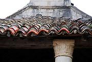 Detail of old tiled church roof. Racisce, island of Korcula, Croatia.