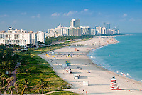 Aerial View or Miami Beach, condo units and art deco buildings with ocean view.