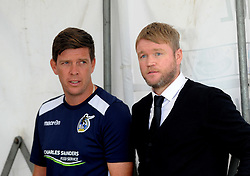 Bristol Rovers manager Darrell Clarke with Peterborough United manager Grant McCann before the game - Mandatory by-line: Neil Brookman/JMP - 12/08/2017 - FOOTBALL - Memorial Stadium - Bristol, England - Bristol Rovers v Peterborough United - Sky Bet League One