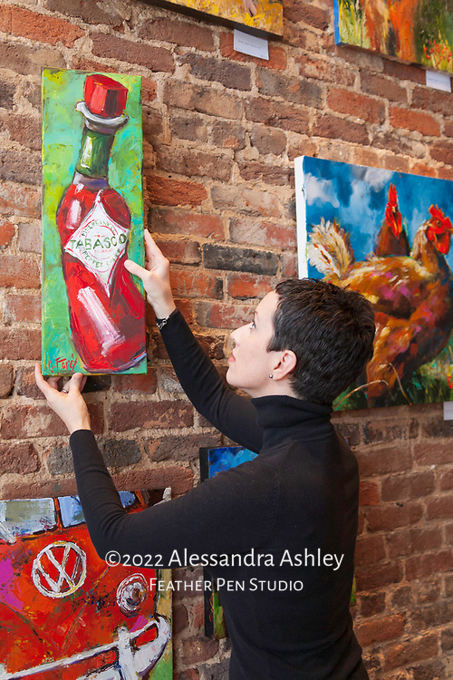 Artist Carole Foret at work in her Athens, Alabama studio and gallery. Photographed for and published in Huntsville EVENT Magazine.
