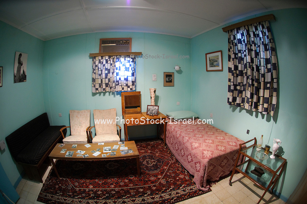 Israel, Negev desert, Kibbutz Sde Boker, Interior of Ben-Gurion Desert Home. The bedroom